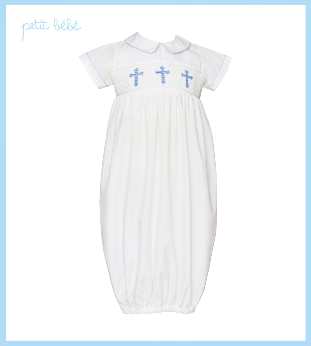 Blue Crosses Smocked White Poplin Boy's Sac