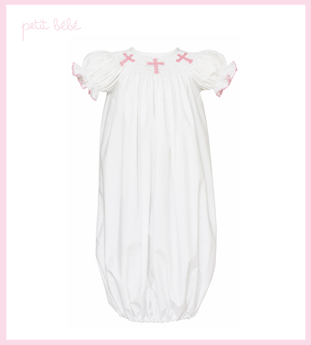 Pink Crosses Smocked White Poplin Girl's Gown