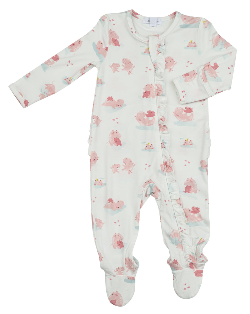 Pink Hippo Bamboo Ruffle Footie