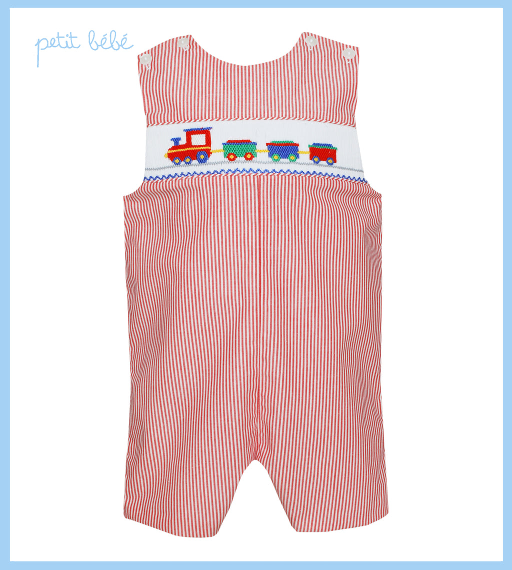Red Striped Train Smocked Jon Jon