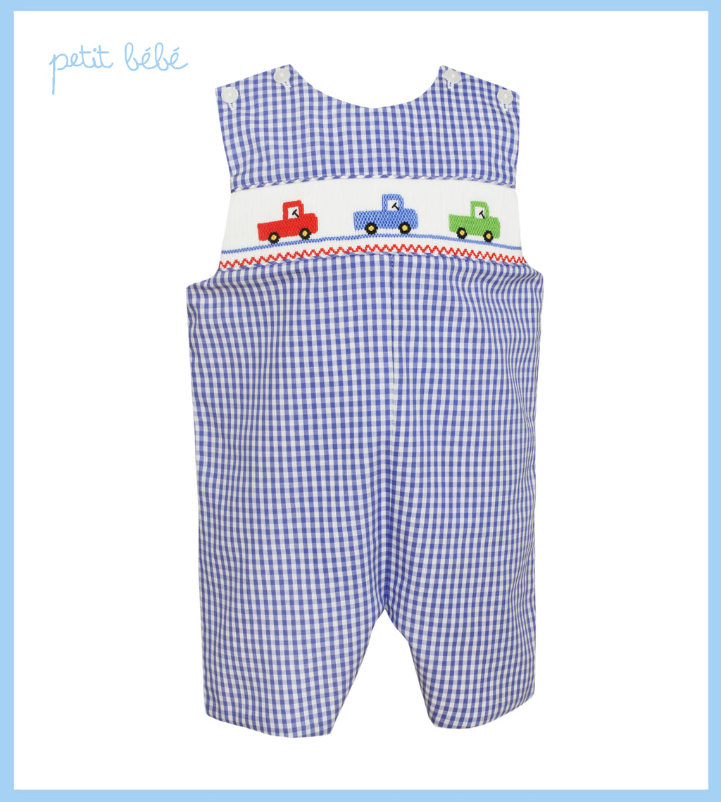 Trucks on Smocked Blue Gingham Jon Jon