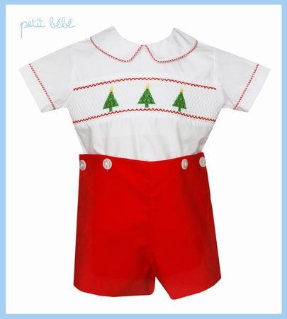 Red & White Smocked Christmas Bobbie Suit
