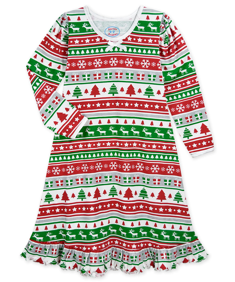 SP Christmas Fairisle LS Night Gown