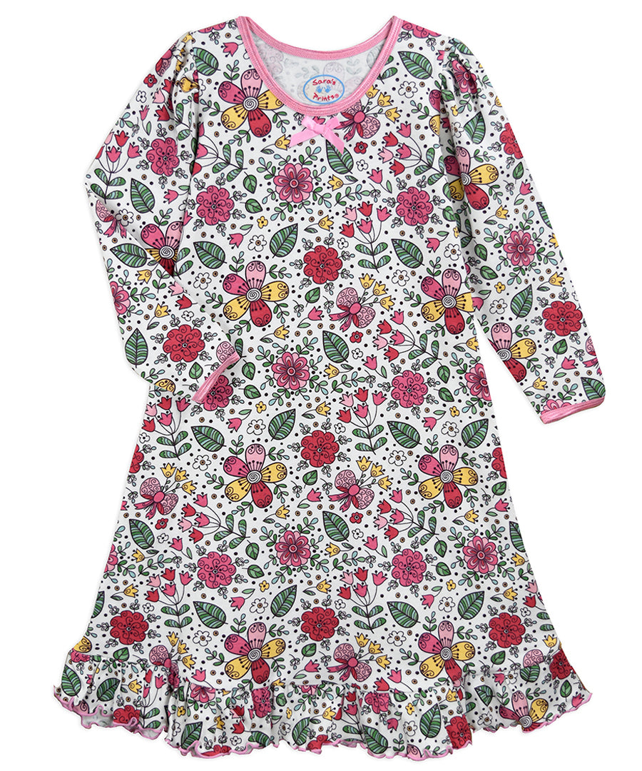 Sara's Prints Sweet Floral Long Sleeve Night Gown