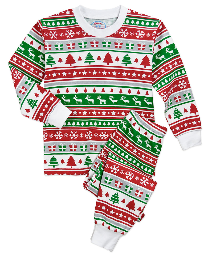 Sara's Prints Christmas Fairisle Stripe Long John Pajama Set