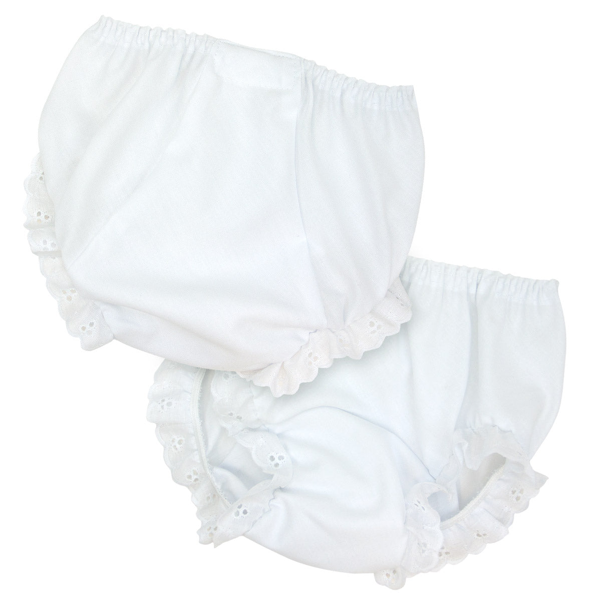 Double Seated Diaper Cover with Eyelet Trim