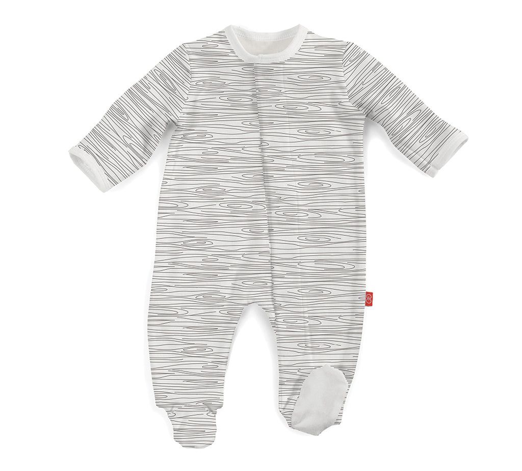 Organic Cotton Grey Birch Print Magnetic Footie