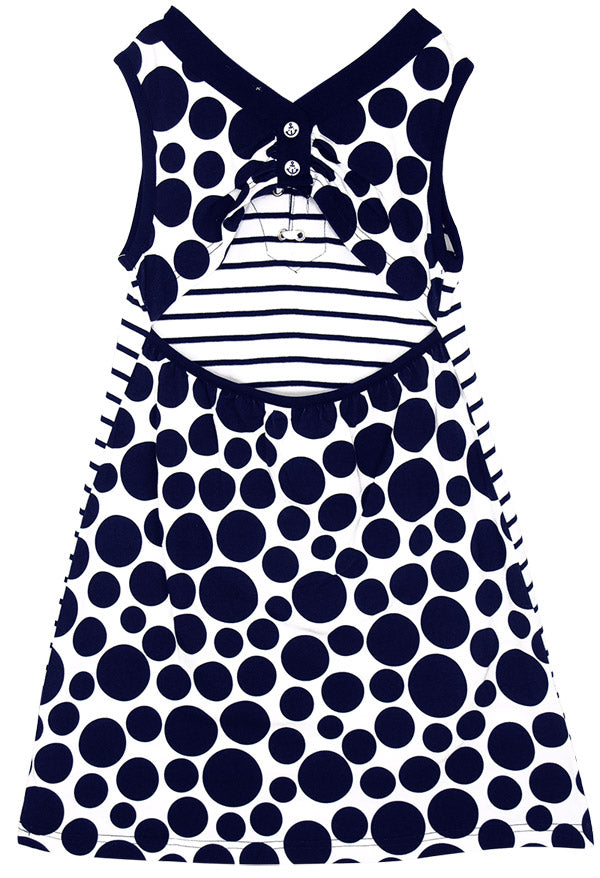 Nautical Striped & Dotted Dress by Le Top