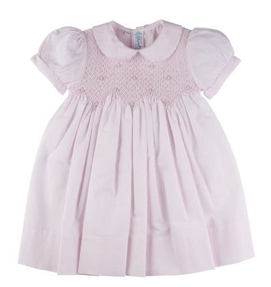 Scalloped Pearl Smocked Dress in pink by Feltman Brothers