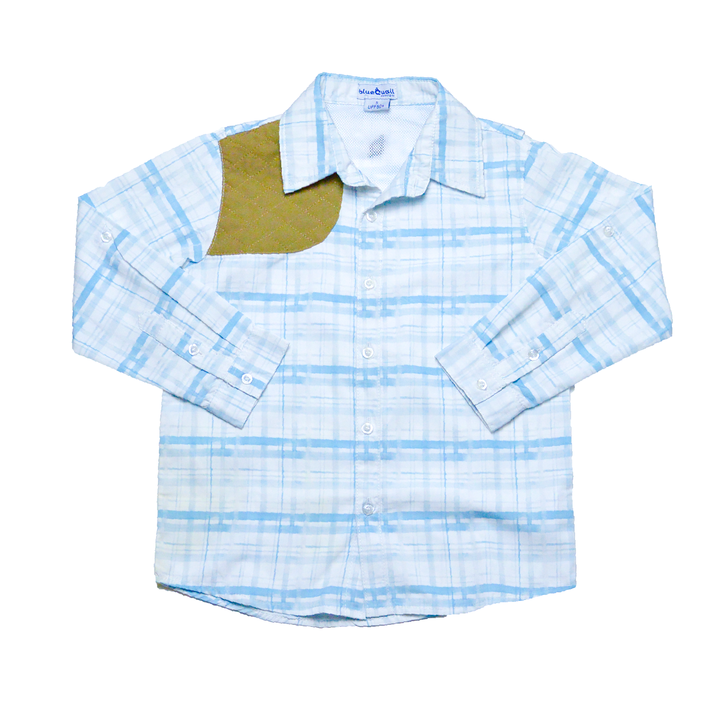 Light Blue Plaid Long Sleeve Ranch Shirt