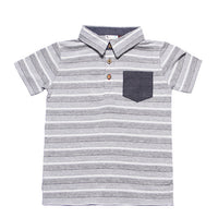 Heather Grey Textured Jersey Stripe SS Shirt