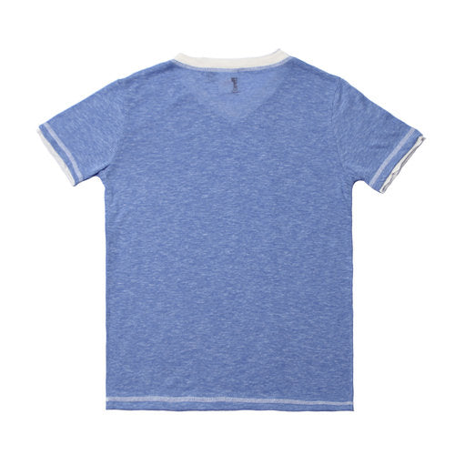 Heather Blue Jersey SS V-neck