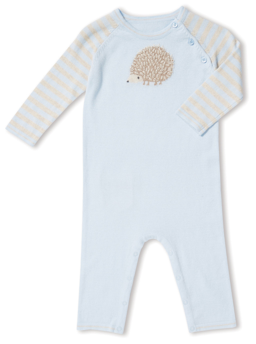 Blue Hedgehog Cotton Lightweight Sweater Knit Coverall
