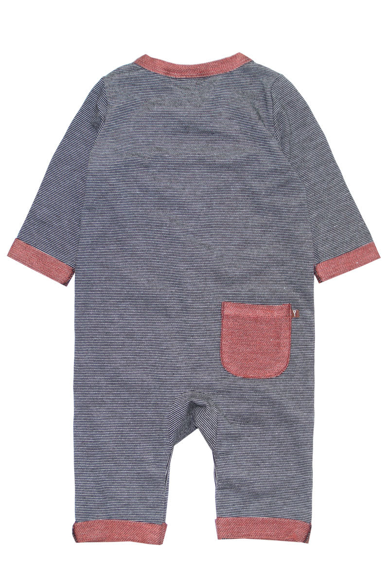 Slate & Rust Mini-Stripe Coverall