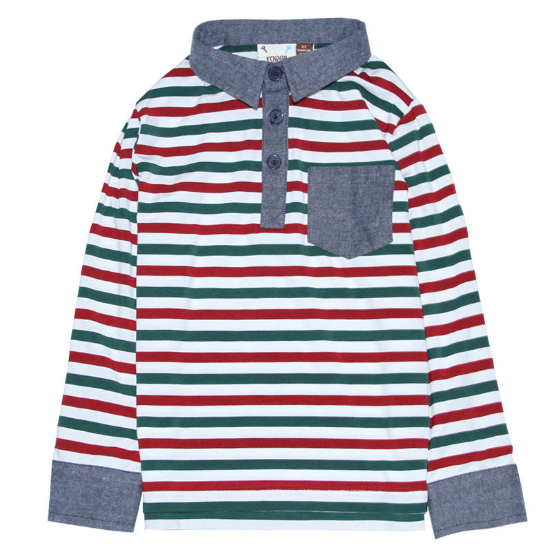 Red & Green Striped Polo