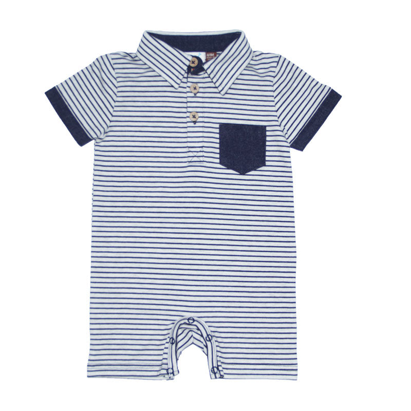 Navy Striped Polo Romper