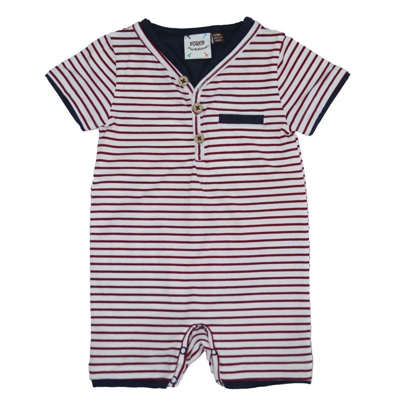 Maroon & White striped Henley Romper by Fore! Axel & Hudson