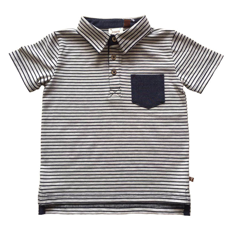 Navy Striped Pocket Polo