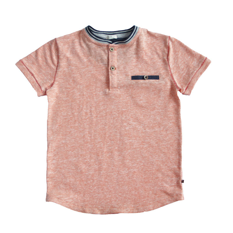 Orange Jersey Henley Shirt