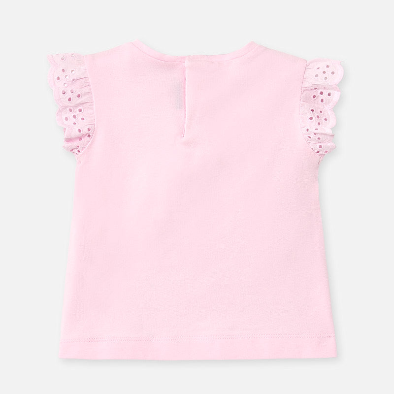 Light Pink Sleeveless Tee with Eyelet Trim