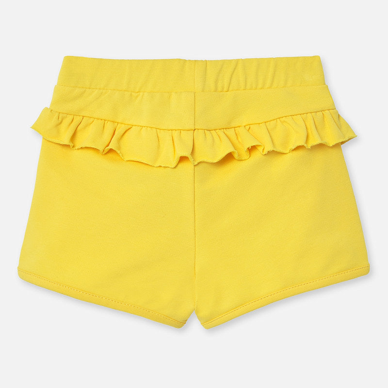 Yellow Knit Ruffled Shorts