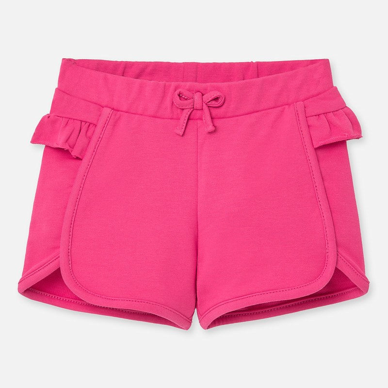 Fuchsia Knit Ruffled Shorts