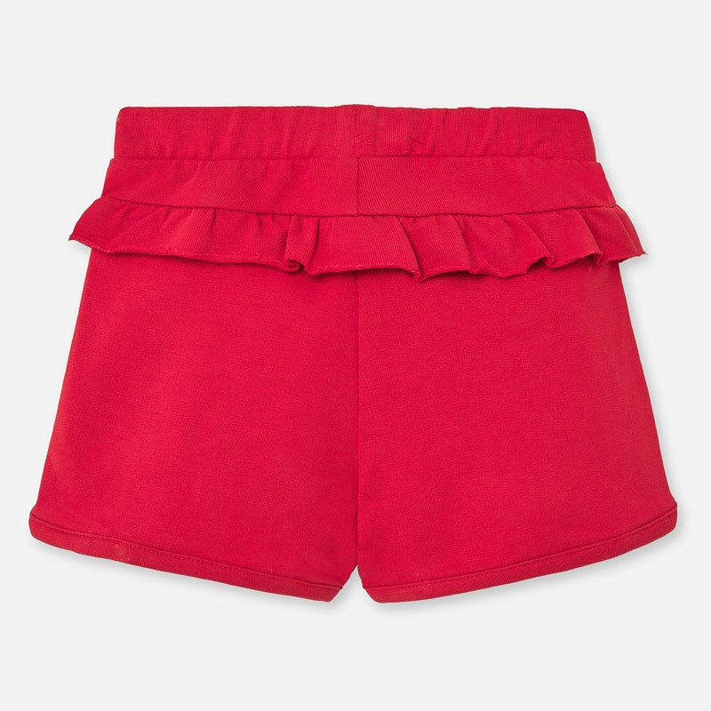 Red Knit Ruffled Shorts