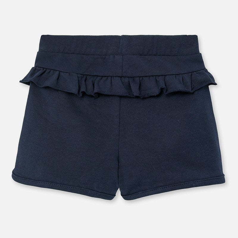 Navy Blue Knit Ruffled Shorts