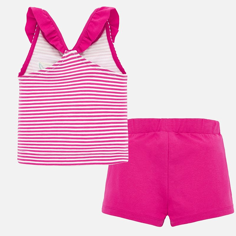 Pink Striped Ruffle Tank & Shorts Set