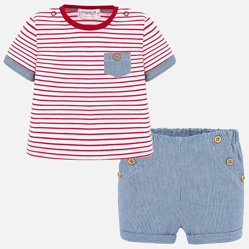Red & Chambray Striped Shirt & Shorts