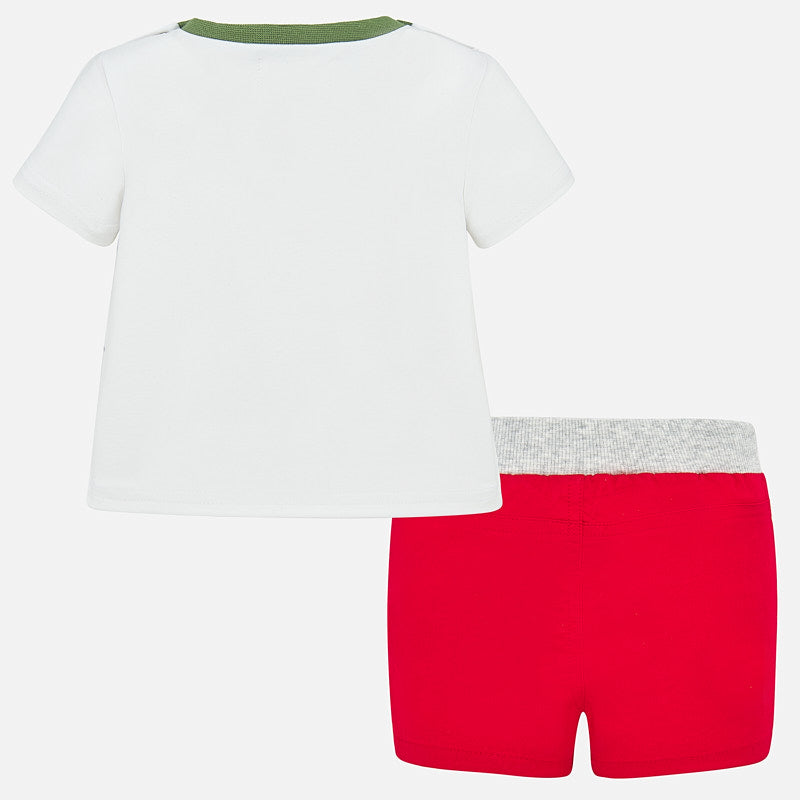 Animals on Wheels Shirt & Red Shorts Set