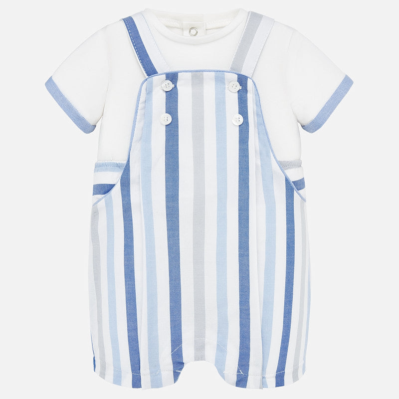 Chambray Striped Overall & Trimmed Tee