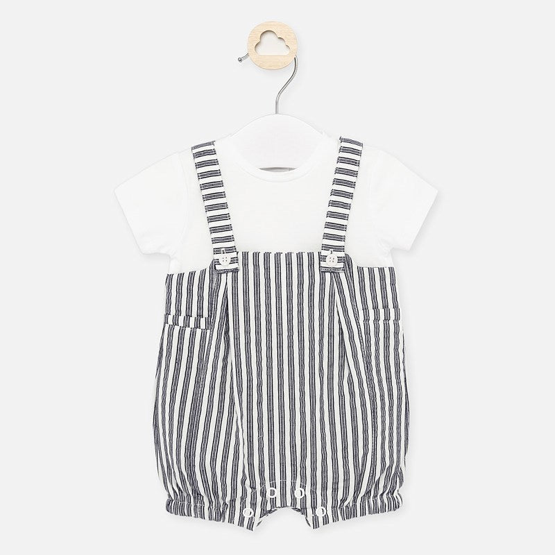 Navy Striped Overall Bubble