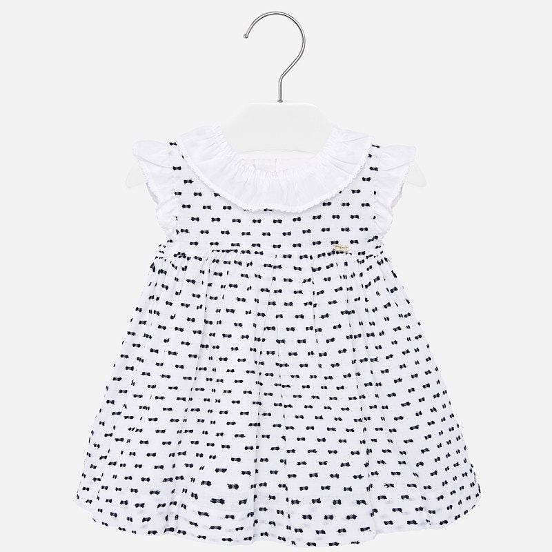 Little Navy Swiss Dot White Dress