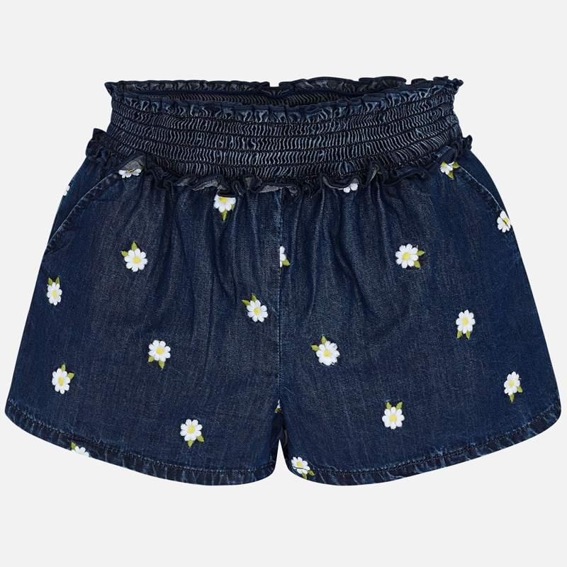 Embroidered Daisy Denim Shorts