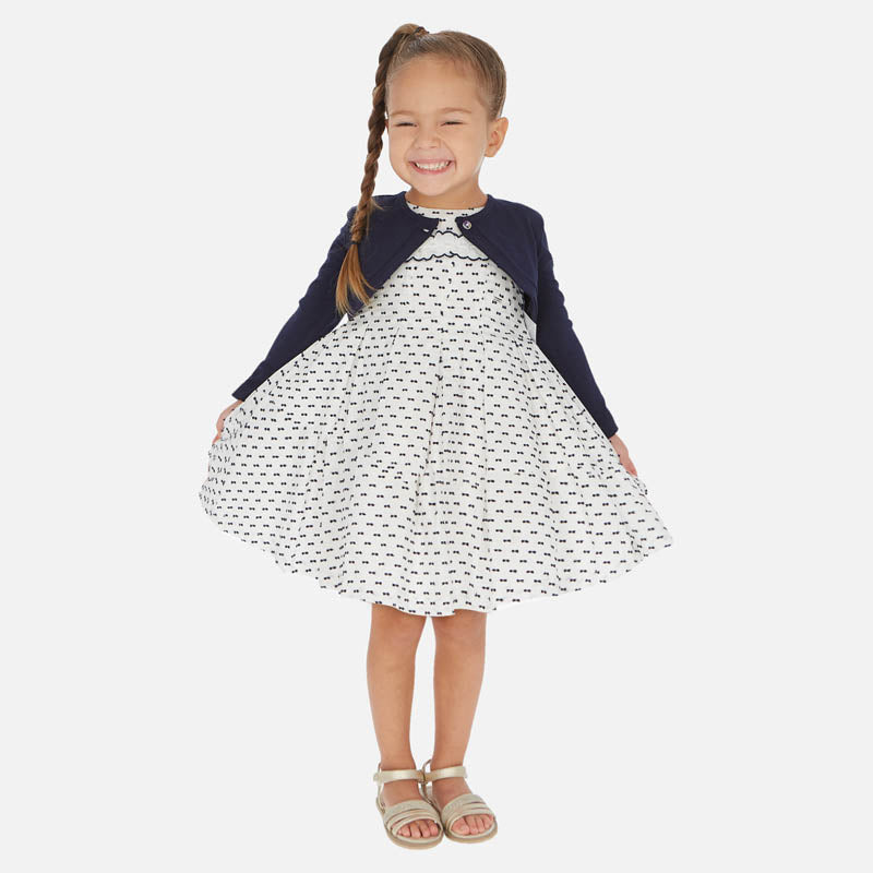 Navy Swiss Dot White Dress