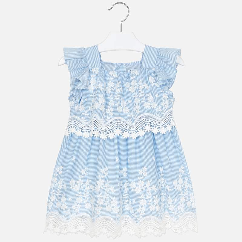Embroidered Blue & White Stripe Poplin Dress