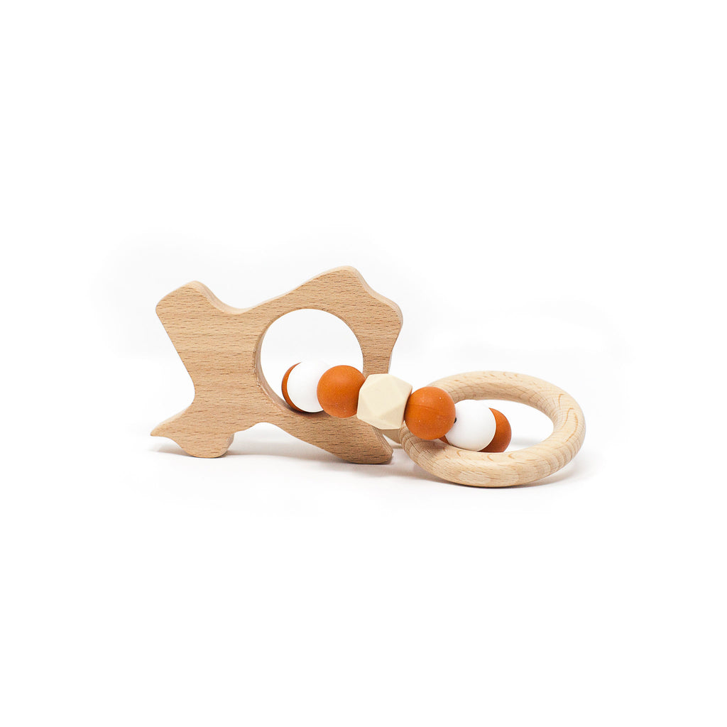 Wooden/Silicone Texas Teething Rattle