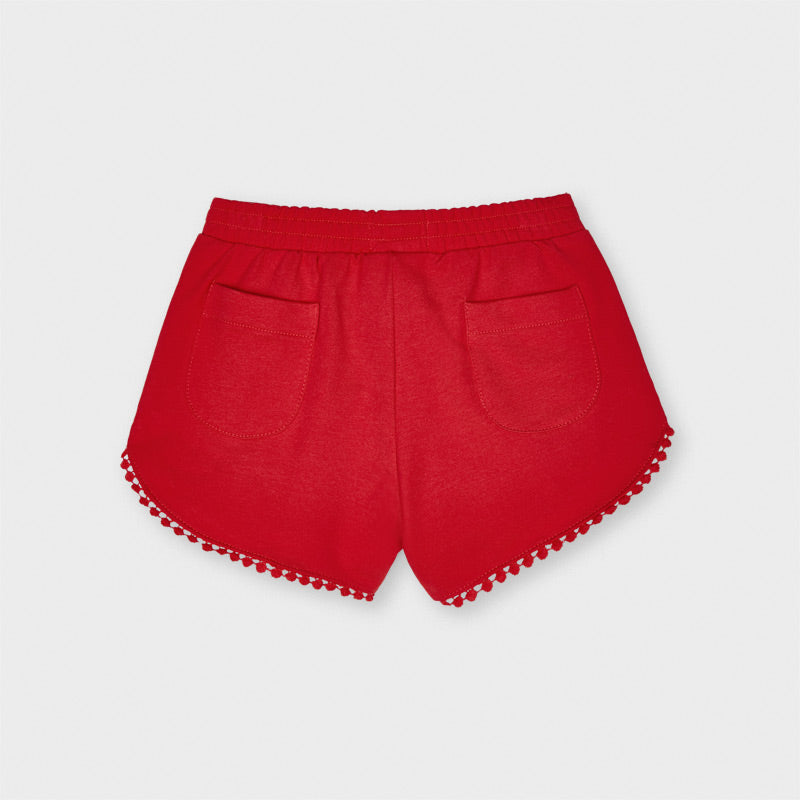 Amapola Red Pom Knit Shorts