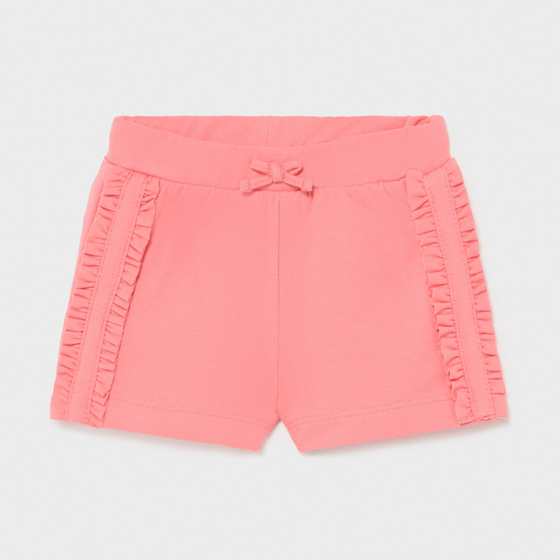 Flamingo Pink Knit Ruffle Shorts