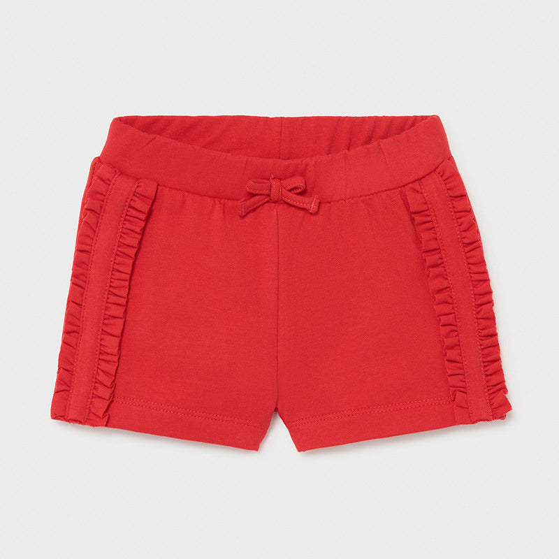 Amapola Red Knit Ruffle Shorts