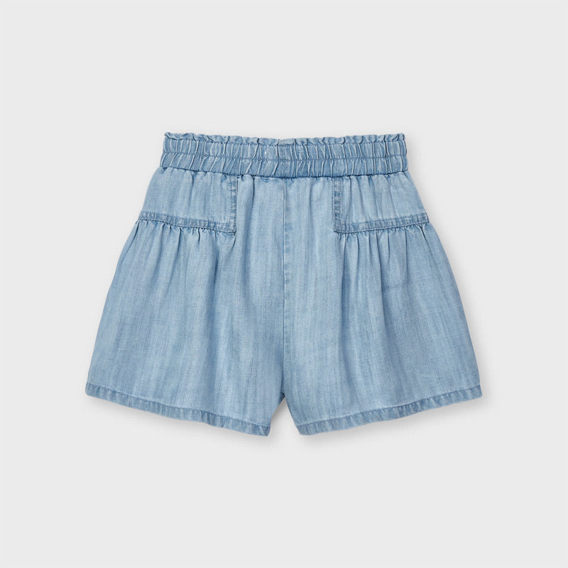 Light Denim Tie Shorts
