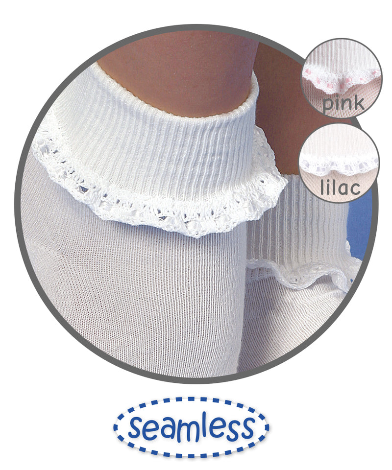 Cluny and Satin Lace Trim Socks