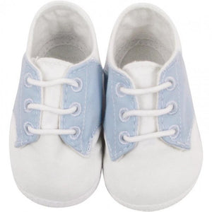 White and Blue Saddle Oxford Crib Shoe