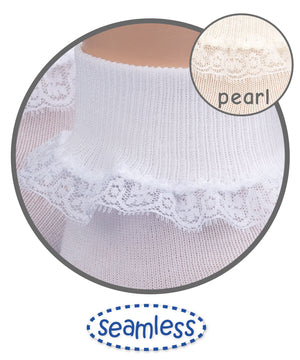 White Simplicity Lace Trim Sock