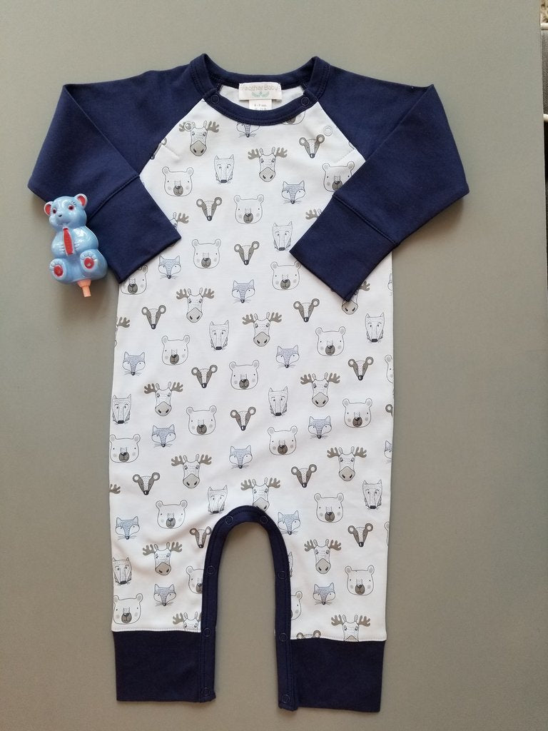 Field Animals Blue Romper