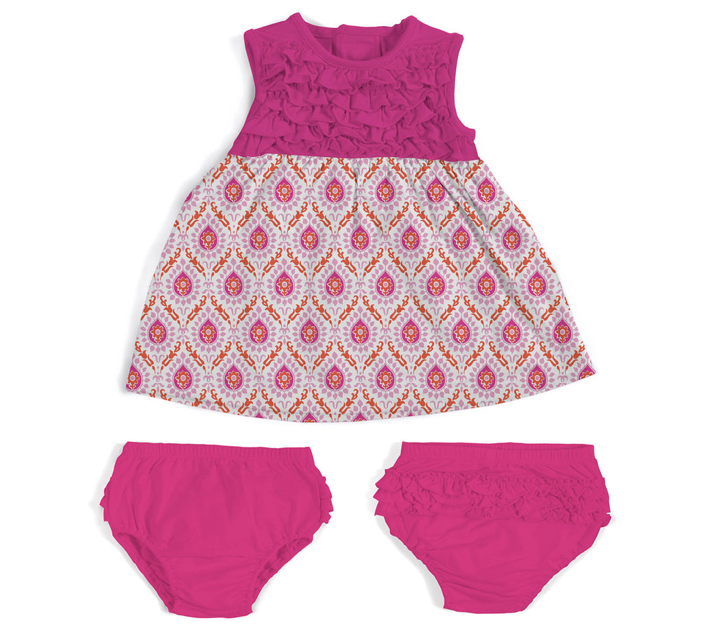 Floral Damask Modal Magnetic Dress & Diaper Cover