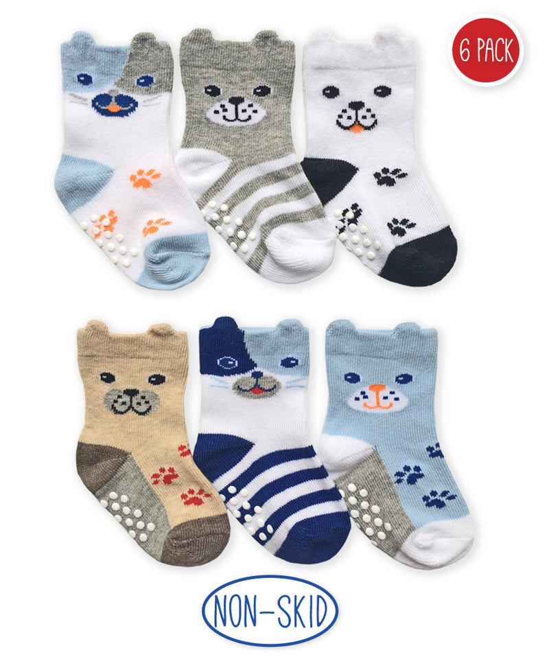 Doggy Non-Skid Socks 6 Pack