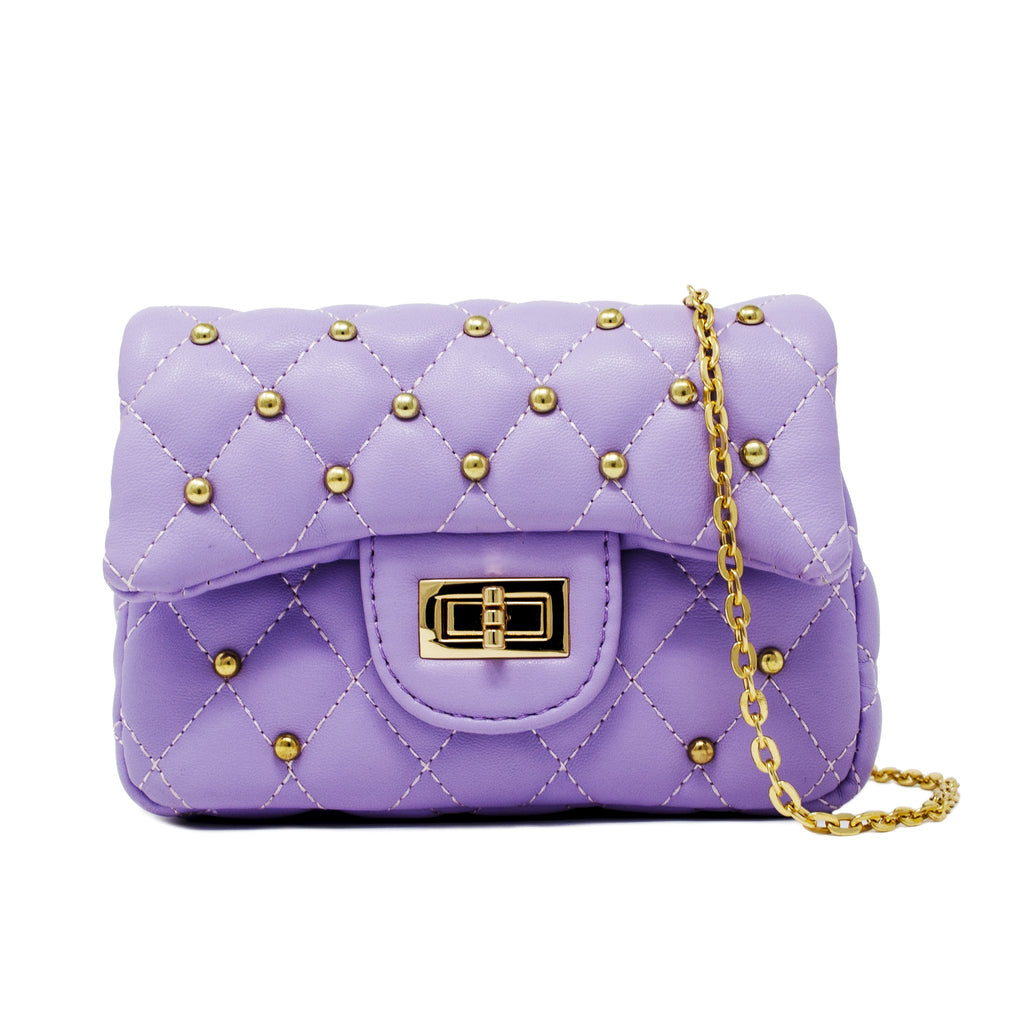 Purple Classic Stud Quilted Mini Purse