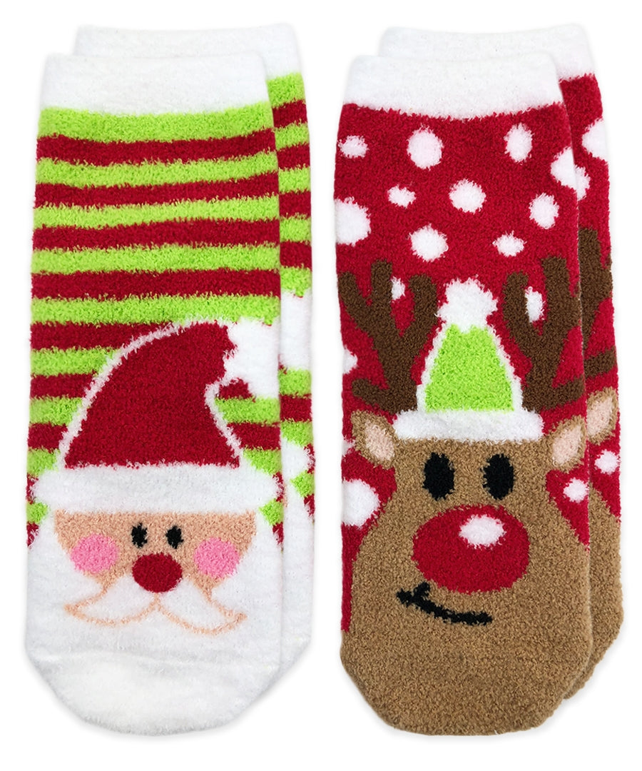 Santa or Reindeer Fuzzy Slipper Socks